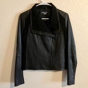 Vince Black Leather Jacket Size Small